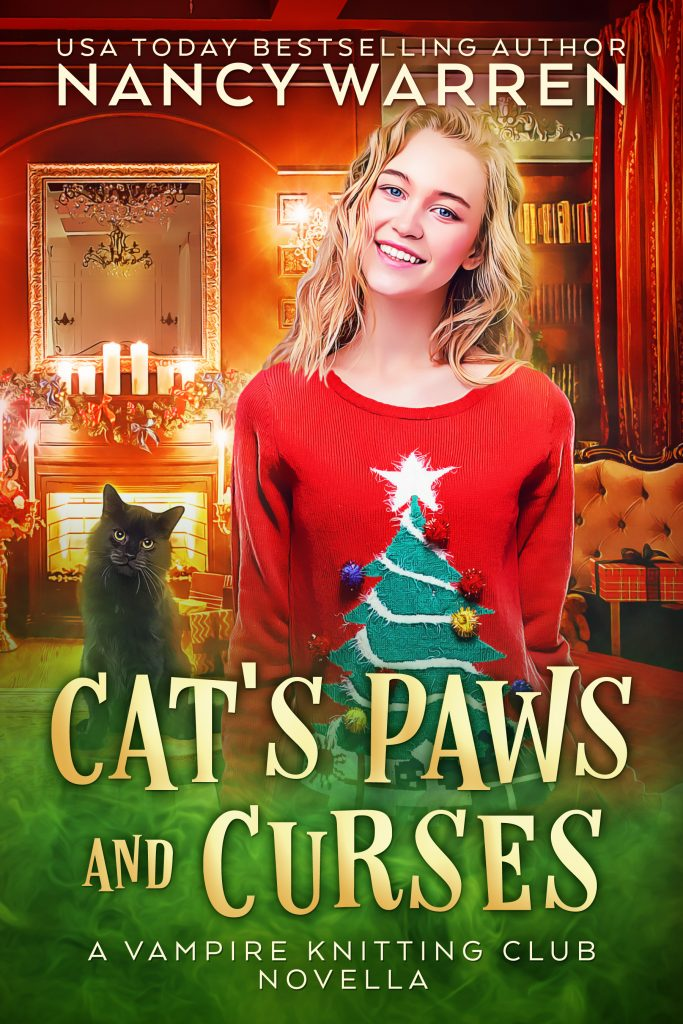 Cat's Paws and Curses - Nancy Warren - cover Christmas scene with black cat