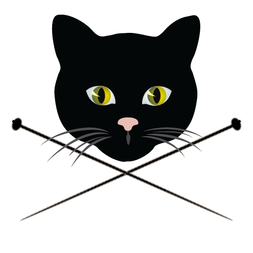 Cat head and crossed knitting needles
